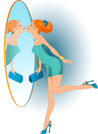woman in mirror: Pretty redhead girl in a cocktail dress and high heel shoes kissing her reflection on her way to a party