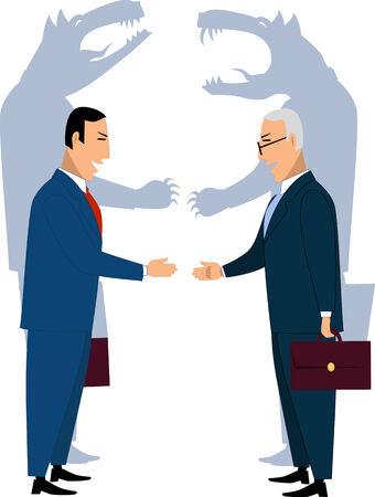 faced: Deceiving businessmen shaking hands Illustration
