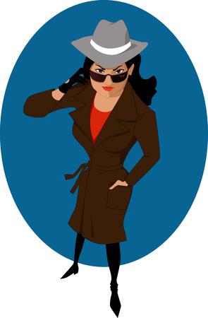 feminino: Feminino agente secreto ou detetive particular Ilustração