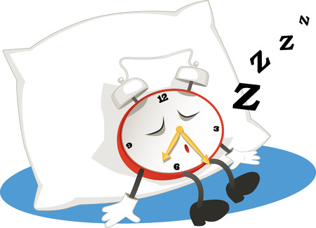 overslept: Cartoon alarm clock sleeping on a pillow, vector illustration