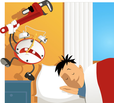 Crazy cartoon alarm clock hitting a sleeping man with an adjustable wrench