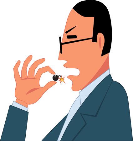 Man brengen een kleine bom met een brandende lont in zijn muis als een metafoor voor een geneesmiddel met gevaarlijke bijwerkingen