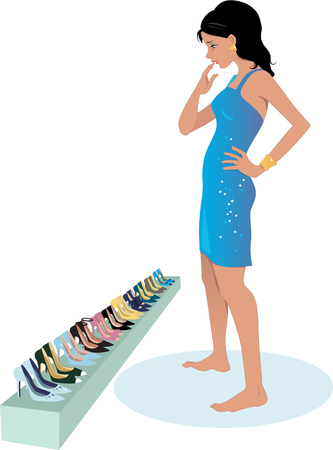 clothing rack: Young woman choosing shoes for an outfit