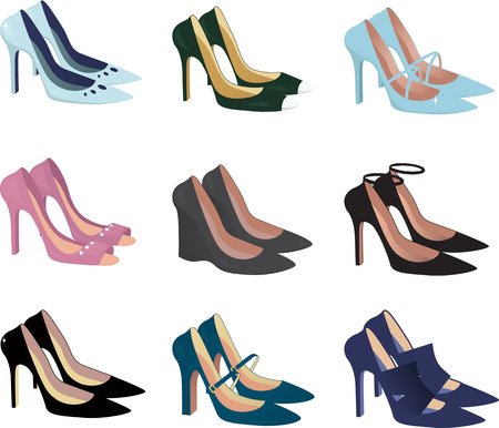 Assorted women high heel shoes isolated on white, vector illustration Illustration