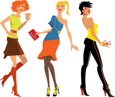 Three cartoon characters of young women in trendy party clothes, vector illustration