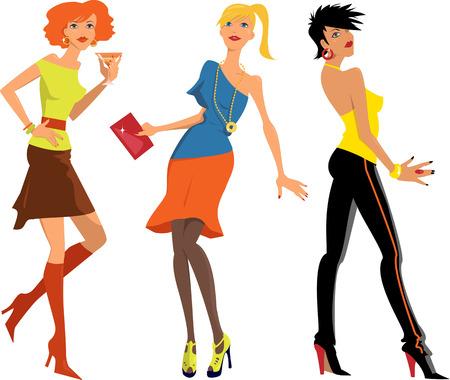 Trois personnages de bande dessinée des jeunes femmes en habits de fête à la mode, illustration vectorielle Vecteurs