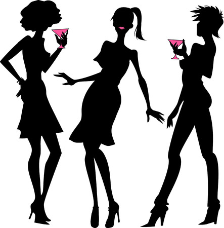 stylish girl: Three party girls black silhouettes with pink details Illustration