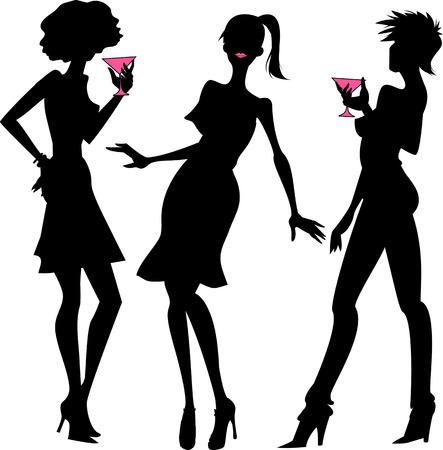 nighttime: Tres muchachas del partido siluetas de color negro con detalles de color rosa Vectores