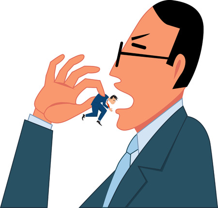 Businessman swallowing a tiny employee, vector illustration