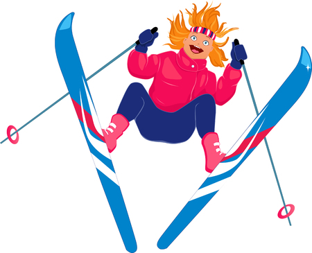 Girl skiing isolated on white Vector