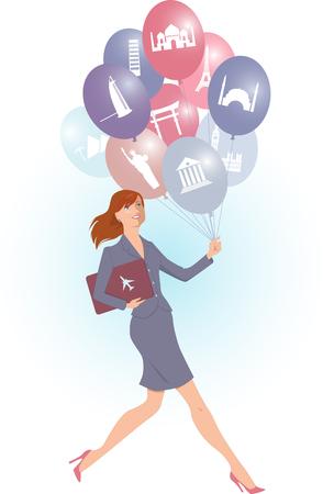 Jonge energieke vrouw die ballonnen met toeristische bestemmingen, vector cartoon