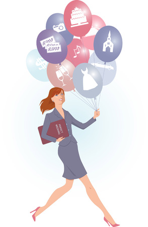 event planner: Energetic female wedding planner carrying balloons with wedding icons and a folder, vector cartoon
