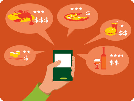cellphone in hand: Mobile search for restaurants
