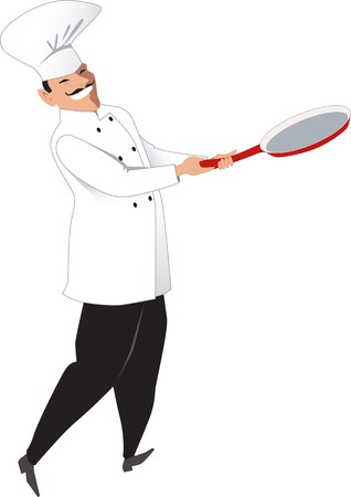 mustached: Mustached chef cook with a fry pan isolated on white vector illustration