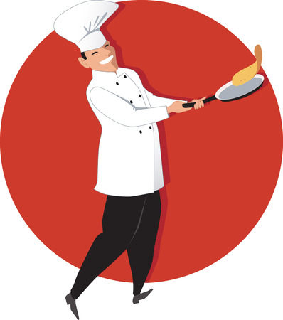 Chef flipping an omelette or a crepe on a fry-pan, vector illustration