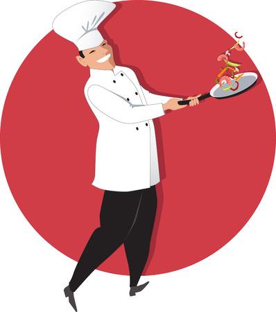 skillet: Chef tossing vegetables and shrimp on a skillet, vector illustration Illustration