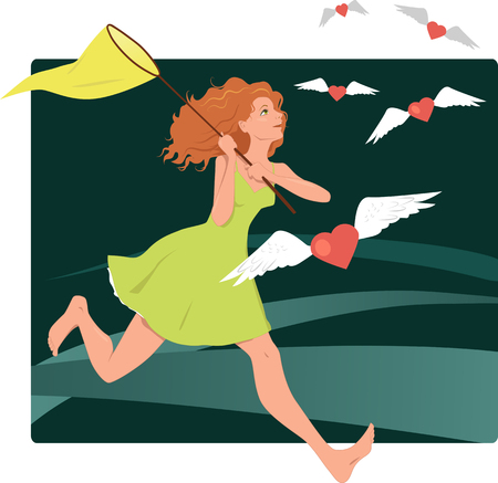 Young woman catching hearts with a butterfly net, looking for love Vector