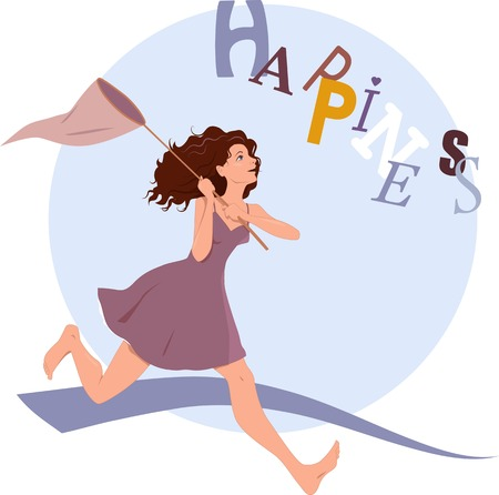 Young woman running after flying word happiness with a butterfly net Vector