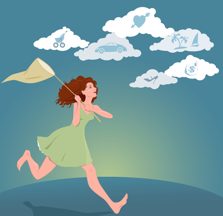 Girl with a butterfly net running after clouds with symbols of dreams and hopes