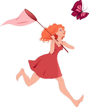 Redhead girl in a red dress chasing a butterfly with a net Vector