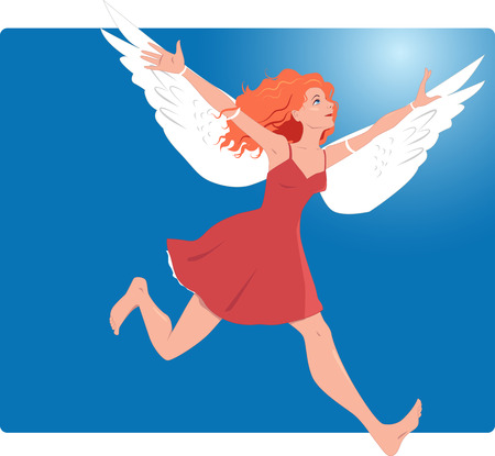flying woman: Young woman runing with wings attached to her arm Illustration