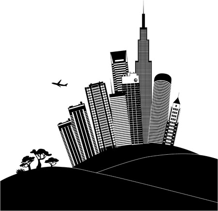 urban planning: Urban landscape in black and white Illustration