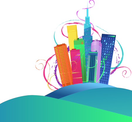 festive: Vector background with a multicolored city skyline and abstract swirls