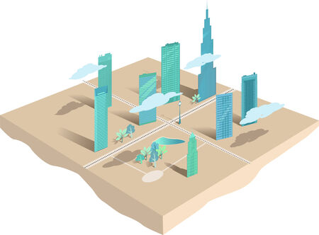 Modern city conceptual map or 3d model, vector illustration
