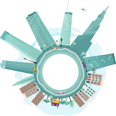 Downtown and suburbs, Vector background illustration fish-eye view