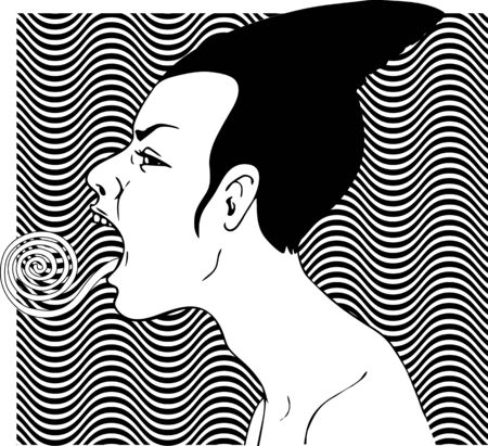 Female profile with twisted tongue stuck out, black and white waves, illustration Иллюстрация