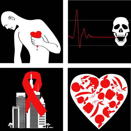 heart disease: Heart attack prevention  Set of icons with symbol for cardiovascular disease awareness   Illustration