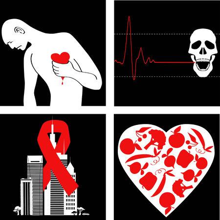 infarctus: la pr�vention de la crise cardiaque Ensemble d'ic�nes avec le symbole de conscience de la maladie cardio-vasculaire Illustration