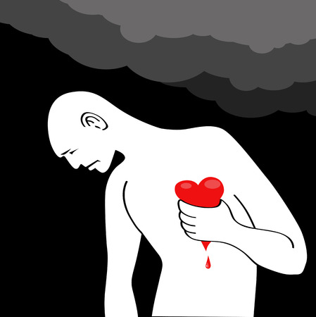 angina: Man having a heart attack  Man squeezing his bleeding heart, dark clouds over his head Illustration