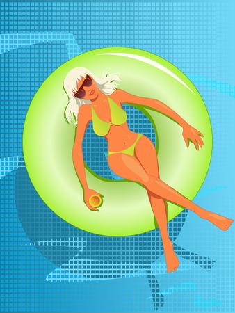 プール、イラストにゴムボートに浮かぶビキニでセクシーな若い女性