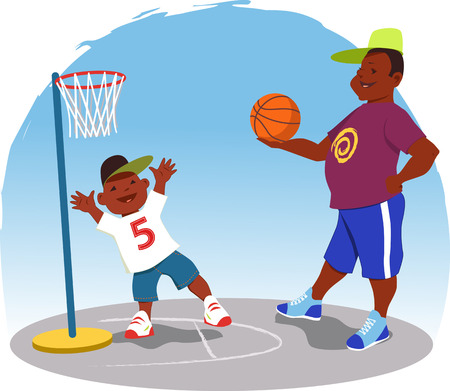 african american family: Black man plays basketball with a little boy in the backyard, cartoon Illustration