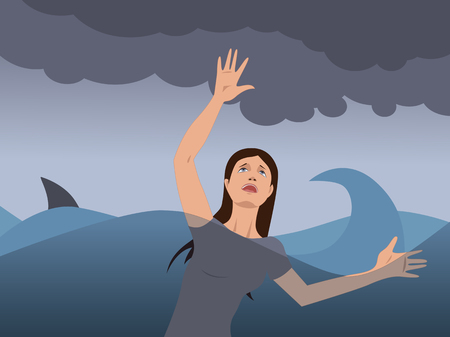 Portrait of a young woman drowning in a stormy sea, shark fin on the background Vettoriali
