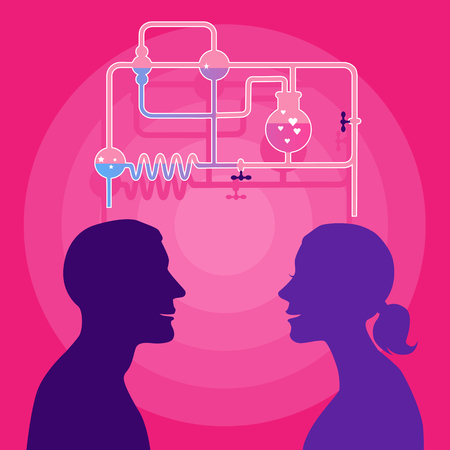 woman profile: Love chemistry  Profile of man and woman with a chemistry set on the background Illustration