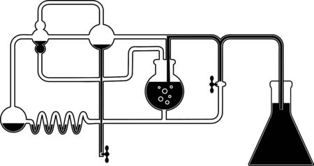 white matter: Black and white graphic design element with chemistry set