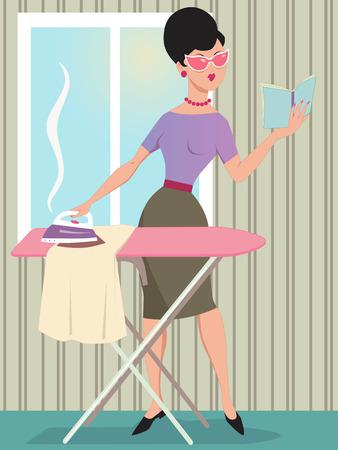Mujer vestida en ropa del estilo 1960 de planchar y la lectura de un libro