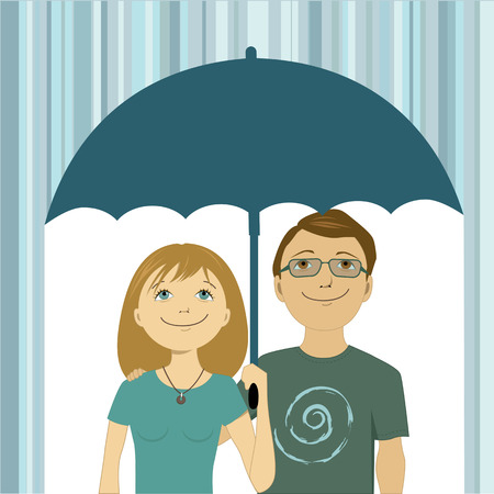 Cute young happy couple under one umbrella hiding from the rain, vector illustration