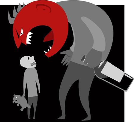 violencia intrafamiliar: Abusivo padre alcohólico monstruo le grita a su hijo, ilustración vectorial