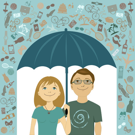 couple in rain: Simple living