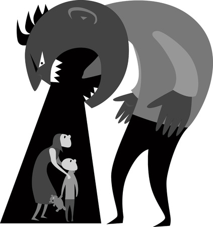 Domestic Violence  Monster man yells at terrified woman and child, gray scale vector ilustration