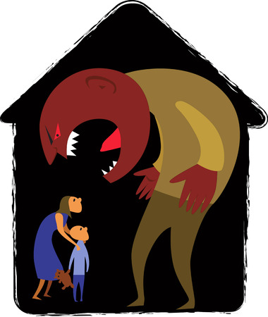 Domestic abuse  Monster man yelling at scared woman and child, vector illustration