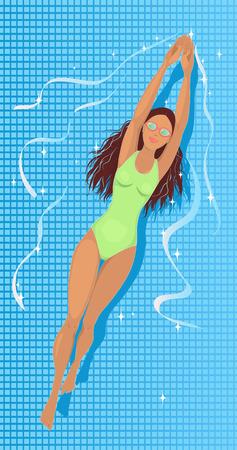 プールに泳ぎにセクシーな若い女性  イラスト・ベクター素材