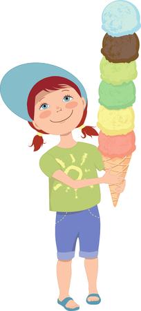 Cute little girl with ice cream, vector cartoon Çizim