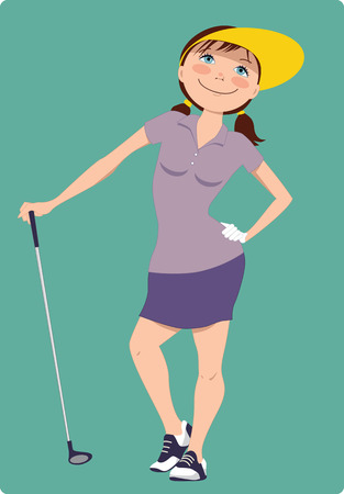 Cute cartoon golfer girl standing with a golf club, vector illustration Vector