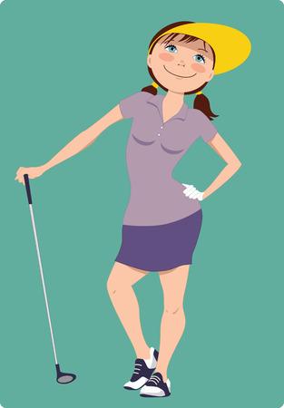 Leuke cartoon golfer meisje staan met een golfclub, vectorillustratie