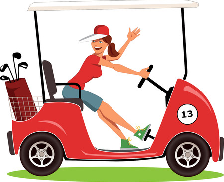 female: Cartoon female golfer in a cart smiling and waving, isolated on white, vector illustration