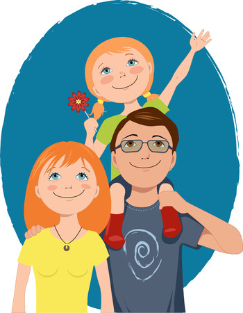 Father with a little girl on his shoulder, smiling young mother posing for a family portrait, vector illustration